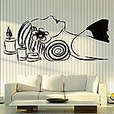 WERWN Hermosa Mujer Etiqueta de la Pared Masaje salón de Belleza SPA relajación decoración Interior Relajarse Vinilo Ventana calcomanía Vela Arte Mural