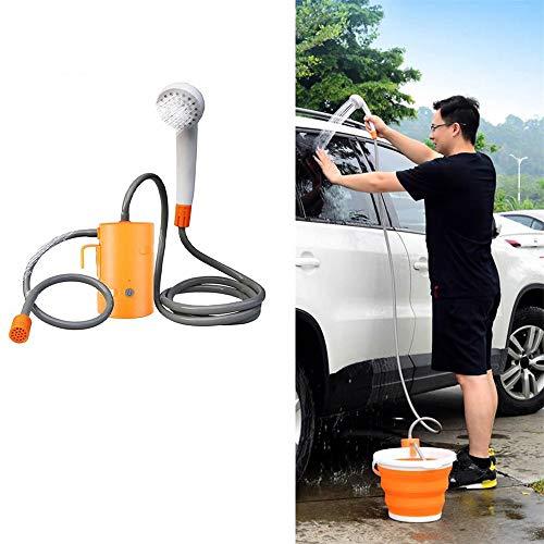 Tragbare Dusche, Wiederaufladbare Camping Hand Showerhead Kit, Wissenschaft und schönes Design, einfach zu demontieren und zu tragen, einstellbare Wassermengen - für Wandern, Dusche, Car Wash,Orange