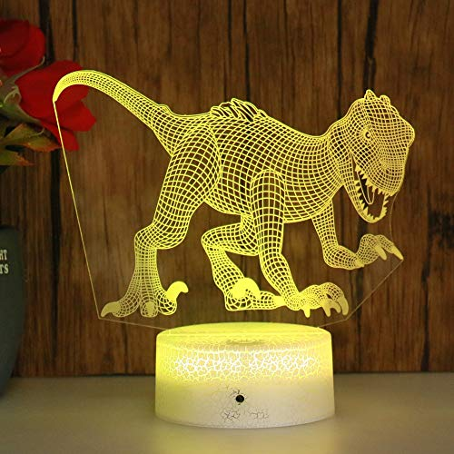 Sanzangtang Led-nachtlampje, 3D-zeven-kleuren, afstandsbediening, koel nachtlampje, dinosaurus, baby, slaapkamer, nachtlampje