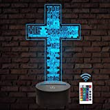 Jesus Cross 3D Night Light, Christ Optical Illusion Lights 16 Colors Change with Remote Control, The Lord Desk Lamps Room Home Decor Xmas Birthday Easter Gifts