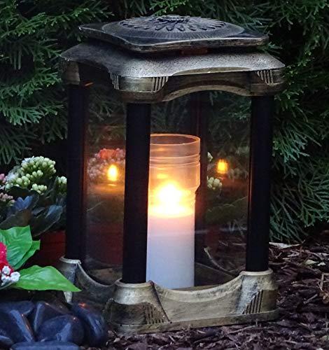 ♥ Grablaterne Grablampe Klara Massiv Premium XL 26,0cm Schwarz Bronze incl. Grabkerze Grabschmuck Grableuchte Laterne Kerze Lampe