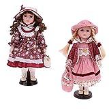 MagiDeal Muñeca De Porcelana De 30 Cm con Soporte De Exhibición, Paquete De 2 Piezas, Figuras Femeninas De Estilo Victoriano con Trajes, Trajes De Muñecas, DEC