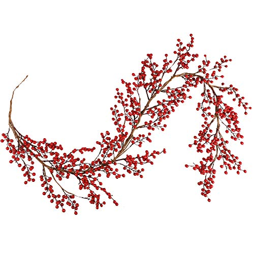Aonewoe Christmas Red Berry Garland 6FT Long Flexible Artificial Burgundy Red Pip Berry Christmas Garland for Winter Christmas Holiday New Year Decoration