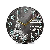 9.5インチの丸い壁時計非カチカチ音を立てないサイレントバッテリー式オフィスキッチン寝室家の装飾-ブラックホワイトパリタワーハート