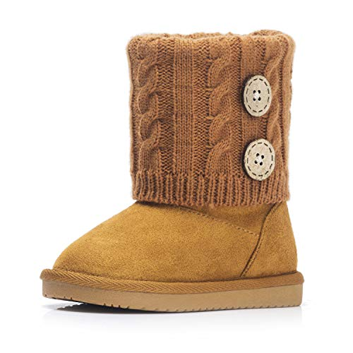 KRABOR Girls Snow Boots, Knit Winter Flat Shoes with Cute Buckles for Toddler/Little Kid Brown/Orange Size 7