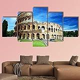 AAAKK Cuadro En Lienzo, Decoracion de Pared,Imagen Impresión, Pintura Decoración, Coliseo en Roma,5 Piezas XXL, Lienzo Decorativo para Tu Salón o Dormitorio