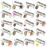 Chstarina 20 Piezas Señuelos de Pesca con Ganchos Cebos Cebo de Pesca Señuelos De Cucharilla de Pesca Spinner Cebo para Pesca de Trucha, Perca y Lucio