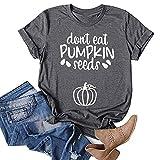 Aniywn Womens Pumpkin Graphic T Shirt Halloween Letters Print Shirt Costume Short Sleeve Loose Fall Tee Tops Dark Gray
