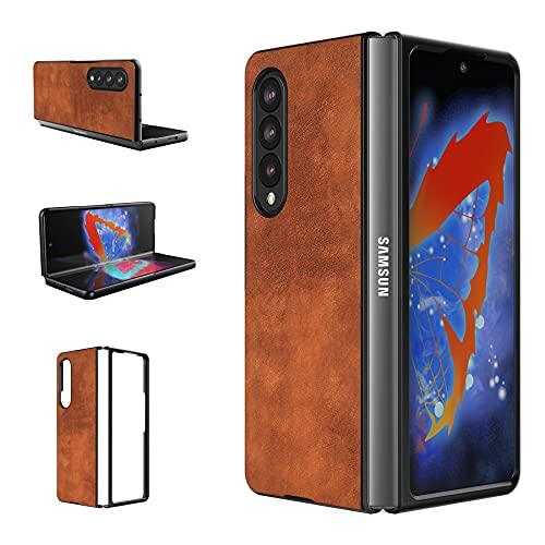 Foluu Galaxy Z Fold 3 5G Hülle, für Samsung Galaxy Z Fold 3 5G Lederhülle, PU Leder + harte PC Schale Ultra Dünn Slim Durable Schutzhülle Handyhülle für Samsung Galaxy Z Fold 3 5G 2021 (Braun)