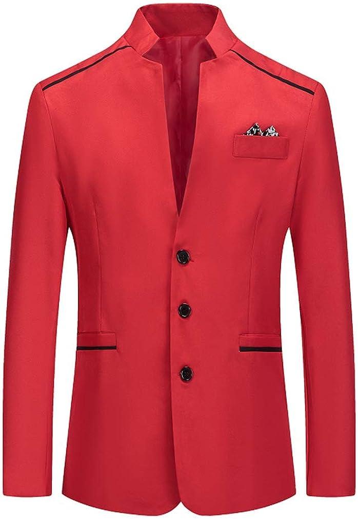 Mens Regular Fit Jacket Blazer Long Sleeve Stand-up Collar Blazer Tuxedo Casual Dress