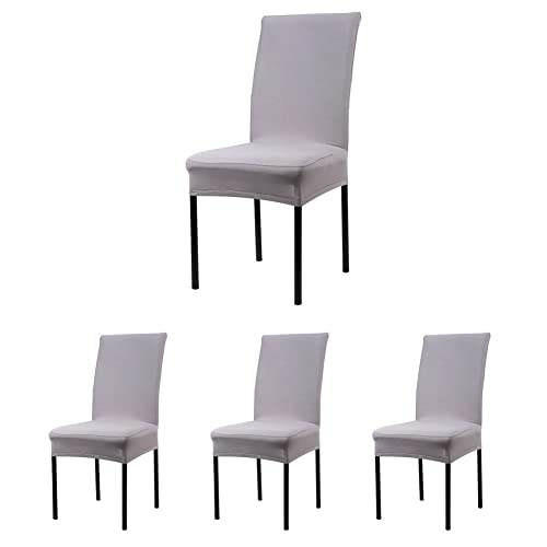 CosyVie Lot de 4 PCS Housses Couvertures de Chaise Extensibles et Lavables pour Protection Chaise Salle à Manger Gris