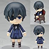 ZYLL Anime Statue, Black Butler Ciel Phantomhive Q Version Nendoroid, Interchangeable Face 10cm Boxed PVC Anime Cartoon Character Model Statue, Action Figure Toy Collectibles Decorations Gifts
