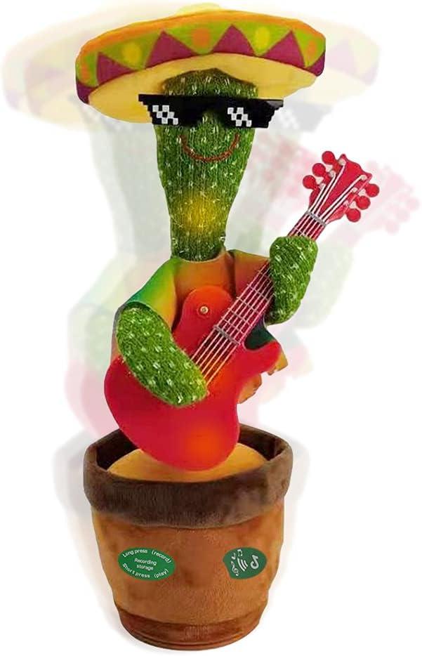 Jooheli Cactus de Peluche, Cactus Bailarín, Divertido Canto y Baile de Cactus con 120 Canciones, Juguete de Peluche de Cactus para Niños, Juguete Divertidos de Educación para Niños (Guitarra)