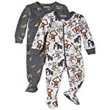 The Children's Place Boys' Baby and Toddler Monkey Snug Fit Cotton One Piece Pajamas 2-Pack, H/T Lunar, 3-6 Months