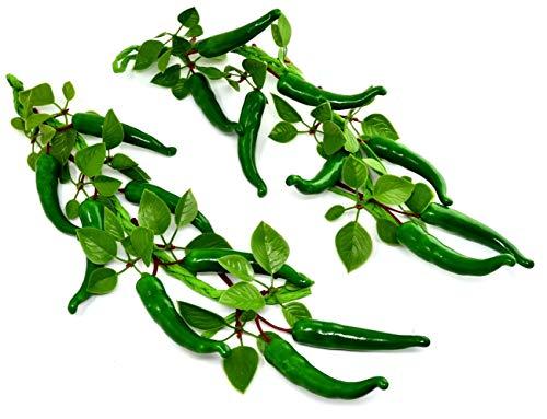 2er Pack Grün Chilischoten String Künstliche Kunststofffabrik Blumen für Wohnkultur Kunststoffpflanzen Blumen Chilischoten Chili-Paprika-Seil