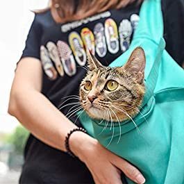 Handfly Cat Carrier Sling Carry Tote Bag,Pet Outdoor Travel Sling Carrier For Puppy, Cats, Hands Free Sling Carry Bag Adjustable Tote Bag for Cats and Puppy