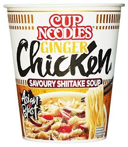Nissin Cup Noodles – Ginger Chicken, 8er Pack, Soup Style Instant-Nudeln japanischer Art, mit Hühnerfleisch-Geschmack & Gemüse, schnell im Becher zubereitet, asiatisches Essen (8 x 63 g)