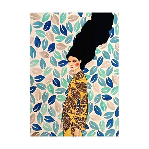 Cuadro abstracto del pájaro del pelo de la flor de la muchacha en cuadros de la pared de la lona Impresiones nórdicas y cuadros de la pared Decoración de la vendimia para la sala de estar (sin marco)
