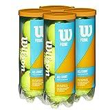 【Amazon.co.jp 限定】Wilson(ウイルソン) 硬式テニスボール PRIME ALL COURT(プライム オールコート) 4缶 全12球入り WRT102204 ウィルソン
