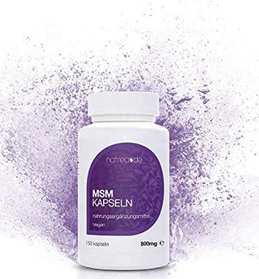 Natrea MSM Kapseln   vegan   99,9% reines, hochdosiertes, organisches Schwefel Pulver ? 150 Kapseln à 800mg MSM (Methylsulphonylmethan) ? ca. 75 Tage Anwendung ?