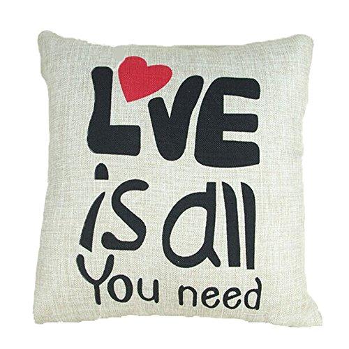 Vanki Bedrukte letters serie, katoen, linnen, decoratieve kussensloop, 45,7 x 45,7 cm, donkerblauw met gele nerf, patroon Love Is All You Need