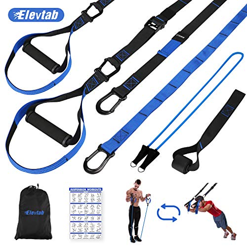Elevtab Bodyweight Resistance Training Kit 2.0-2 in 1 Suspension Trainer Straps with Exercise Band, Door Anchor, Extension Strap, Detachable Handles and Portable Bag for Home Gym Full Body Workout,