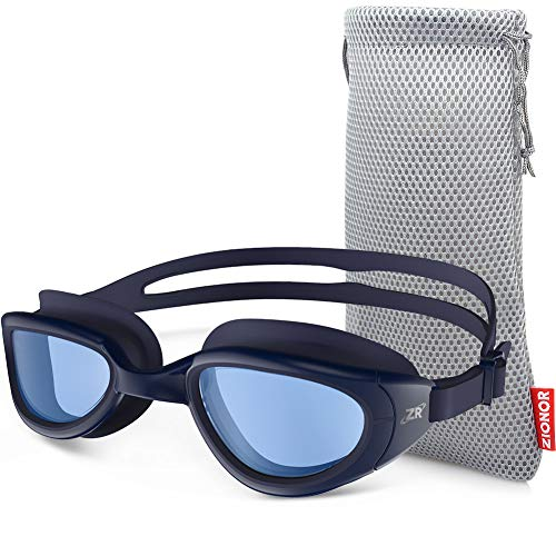ZIONOR Swimming Goggles, G6 Non Polarized Swim Goggles UV Protection Watertight Anti-Fog Adjustable Strap Comfort fit for Unisex Adult Men and Women (Non-Polarized Clear Blue Lens Navy Frame)