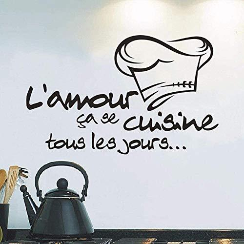 Cosmouk 2019 Calcomanía de la cocina Vinyl Decal Cocina Azulejos Chef Decoración de pared Etiqueta de la pared DIY Estilo de la pared Decoración Etiqueta Decoración para el hogar Sala de estar 58 * 36