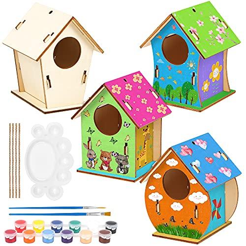 O-Kinee 4 Pezzi Casetta Uccelli Costruire Fai da Te Kit per Bambini Casetta Uccelli in Legno Pittura Kit Materiale Kit per Lavoretti Creativi Costruire Casetta Uccelli Giocattoli per Bambini