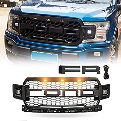 VZ4X4 Black Replacement Grille ABS Front Mesh Grill Fit for 2018 2019 2020 Ford F-150 with 3 Amber LED Lights with Wiring Harness Kits and 2 Side LED Lights, Replaceable Letters