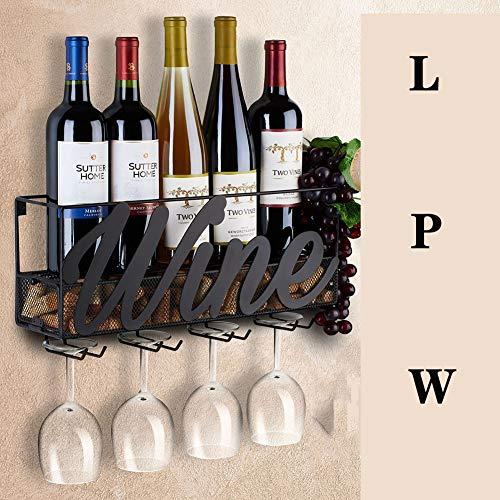 Wine Rack, Weinglashalter, Weinregal An Der Wand, Weinregal, Metall, Wandmontage, Für 4 Lange Stielgläser & Aufbewahrung Für Korken