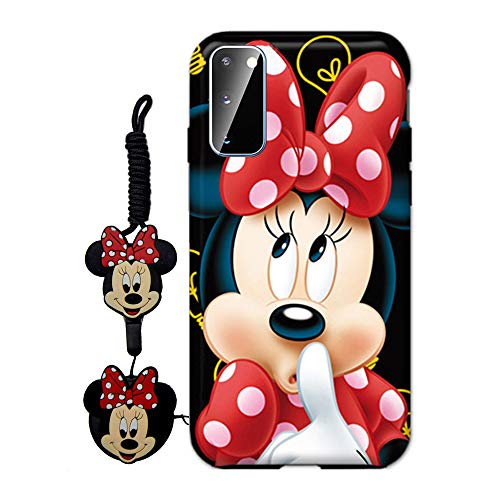 MME Cartoon Case for Galaxy S20 - Mickey Minnie Mouse Case Cute 3D Character Case Soft TPU with Pop Out Phone Stand Holder and Neck Strap Lanyard for Girls (Red,S20)