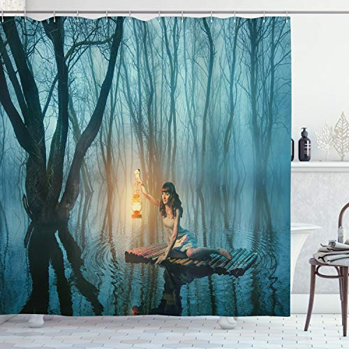 Ambesonne Gothic Shower Curtain, Mysterious Woman Holds a Lantern Floating on The Lake in an Old Rustic Dress at Forest Scenery, Cloth Fabric Bathroom Decor Set with Hooks, 75' Long, Turquoise Peach