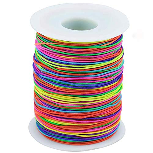JKGHK 100M Rainbow Bead Thread 0.8Mm Bead Cord for Bracelet Necklace Making, Colourful Nylon Thread for Kids Jewellery Craft Making