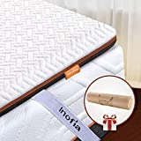 Inofia Double Memory Foam Mattress Topper with Cover and Storage Bag, 6CM Naturbrown