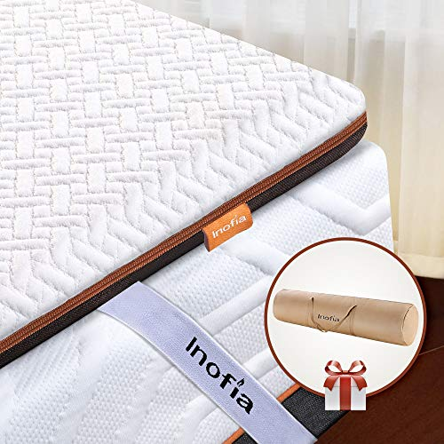 Inofia Single Memory Foam Mattress Topper with Cover and Storage Bag, 6CM Naturbrown Mattress Topper,Transform Old Mattress By Adding Dual Layer,100Night Home Trial,(90x190)