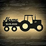 LED Deko Schlummerlicht Nachtlicht Name Traktor Traki der Traktor Anhänger mit Wunsch Datum, personalisiert mit Wunsch Namen Lasergravur Abendlicht Kinderzimmer Wohnzimmer Geschenk