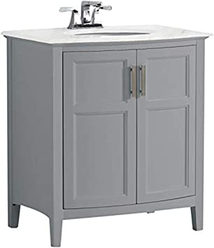 Simpli Home Winston 30 Inch Contemporary Bath Vanity In Warm Grey With Bombay White Engineered Quartz Marble Extra Thick Top Amazon Com