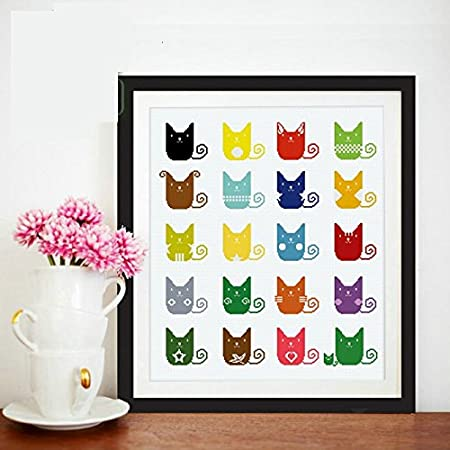 20 Colorful Cartoon Cats Cotton Strands Counted Cross Stitch Kits,14ct,4852cm,205229aida, Cross Stitch Kit
