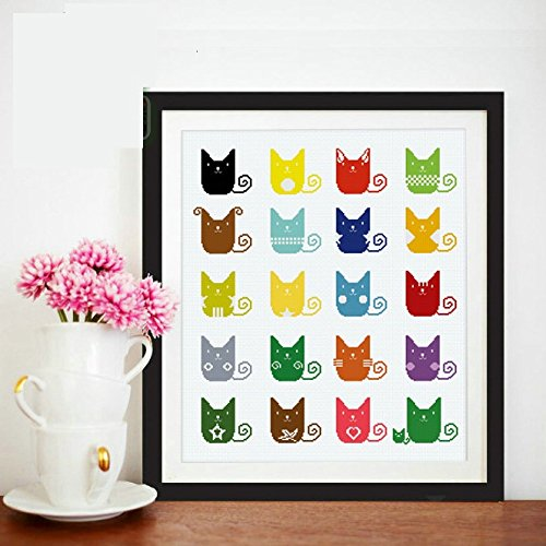 20 Colorful Cartoon Cats DMC Strands Counted Cross Stitch Kits,14ct,4852cm,205229aida, Cross Stitch...