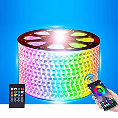 XUNATA LED Strip Lights, Bluetooth Control RGB AC110-120V SMD 5050 60 LEDs/m Waterproof Rope Light Strip with 24Key IR Remote, Work with iOS & Android Music Time Control System