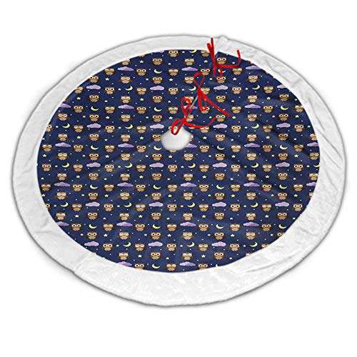 Owls Christmas Tree Skirt Gold Cartoon Birds at Night Sky Elements Stars and Crescent Moons Purple Clouds Bedtime for Xmas Party Decoration Multicolor 48 Inch