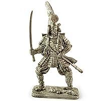 日本。加藤清正、1590年。金属の彫刻。コレクション54mm(1/32スケール)ミニチュアフィギュア。ブリキおもちゃの兵隊