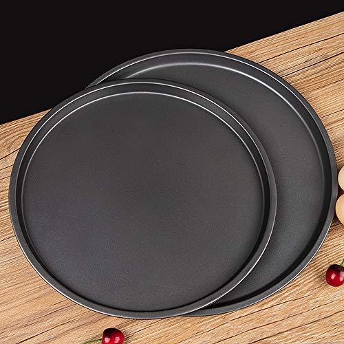 Lot de 2 plaques de cuisson rondes à pizza, anti-adhésives, pour four à pizza, grillades et accessoires de cuisine – 22,9 cm, 28 cm, noir