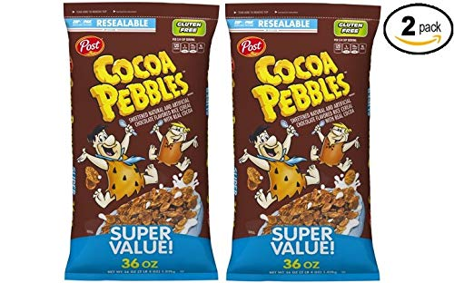 Post Cocoa Pebbles Gluten Free Breakfast Cereal, Chocolate, NET WT 36 Oz - Pack of 2