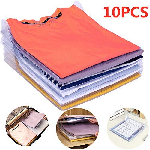 Nifogo Organizer per Armadio,Organizzatore di Armadi,Pieghevole Abbigliamento Board,Closet Organizer Camicia Cartella - 2 in 1 Cartella T-Shirt + Cartella di File (10 pz)