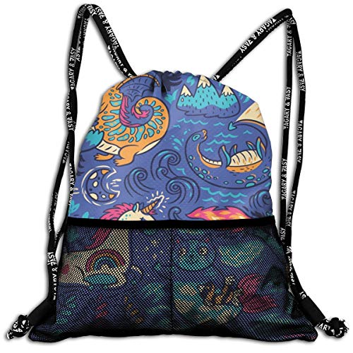 Drawstring Backpack Cooler Backpacks Front Zipper Mesh Bag For Women Men Travel Fitness Fantastic Animals Yeti Dragon Unicorn Cat And Mermaid Personalized
