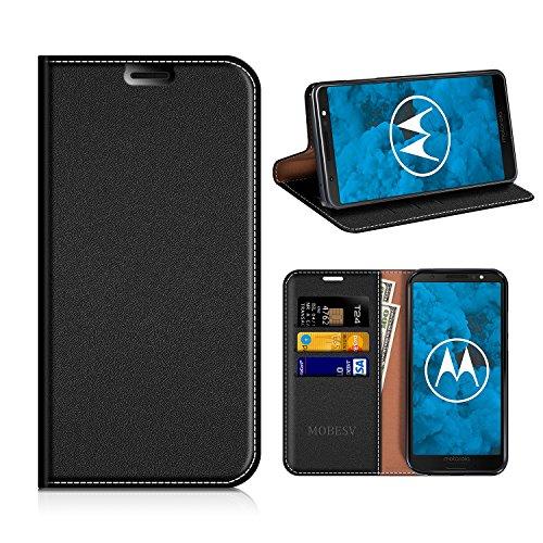 MOBESV Moto G6 Hülle Leder, Moto G6 Tasche Lederhülle/Wallet Hülle/Ledertasche Handyhülle/Schutzhülle mit Kartenfach für Motorola Moto G6 - Schwarz