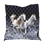 Tagesdecke Bettüberwurf 3D Löwe Pferd Heiser Steppdecke Einzelbett Doppelbett Gesteppt Mikrofaser Bettdecke Stepp Decke Tagesdecken für Schlafzimmer Blanket Bedspread (Weiß,200 x 230 cm)