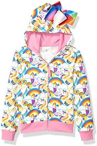 JoJo Siwa Girls Little Unicorns Rainbows All Over Print Zip Up Hoodie with Bow White Pink M product image